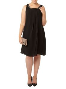 Evans Black Embellished Neck Dress