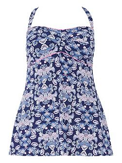 Blue Paisley Print Swimdress