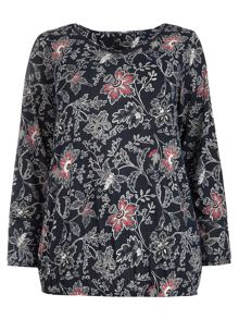Evans Navy Floral Print Gypsy Top