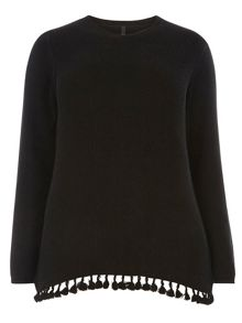 Evans Black Textured Tassle Jumper