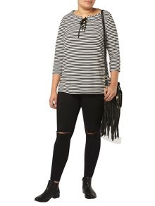 Stripe lace up neck tee
