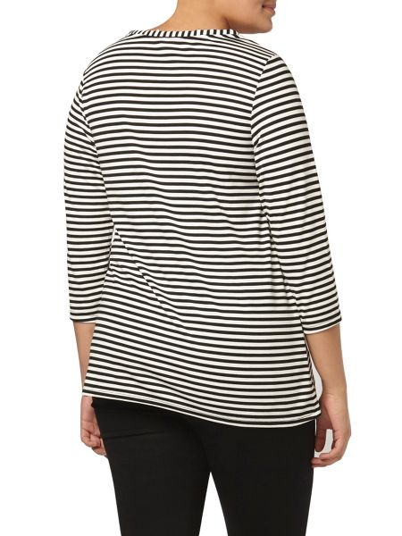 Evans Stripe lace up neck tee