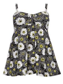Evans Daisy Print Fluted Swimdress