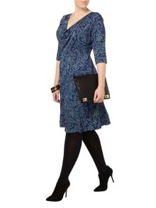 Evans Scarlett & Jo Printed Cowl Neck Dress
