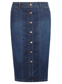 Evans Button Through Denim Midi Skirt