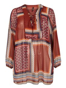 Evans Patchwork Print Lace Up Tunic