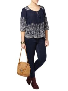 Evans Navy Floral Boarder Gypsy Top