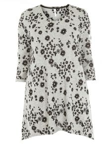 Grey soft touch print top