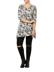 Evans Grey soft touch print top