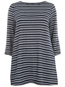 Navy And Grey Stripe Top