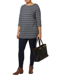 Evans Navy And Grey Stripe Top
