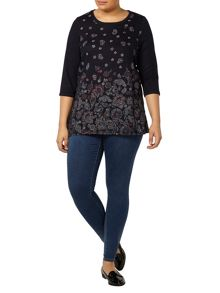 Evans Navy Printed Top