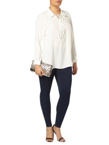 Evans Ivory Lace Up Blouse
