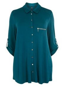 Teal Zip Jersey Shirt