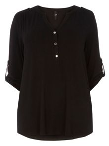 Evans Black Workwear Busty Fit Shirt