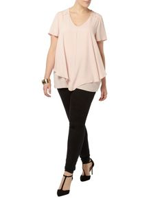 Evans Pink Double Layer Busty Fit Top