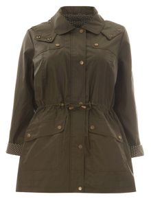 Evans Khaki Floral Trim Wax Coat