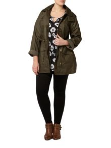 Khaki Floral Trim Wax Coat