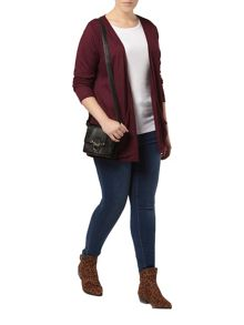 Evans Berry rib pocket cardigan