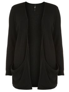 Black rib pocket cardigan
