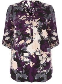 Evans Purple Oriental Print Shirt