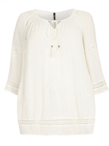 Evans Ivory Embroidered Gypsy Top