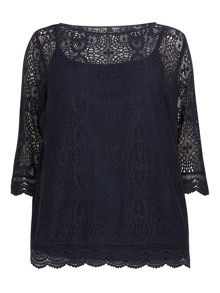 Evans Navy Lace Top