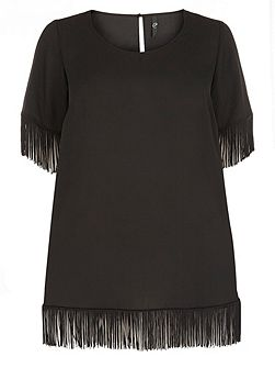 Black Fringed Short Sleeve Top