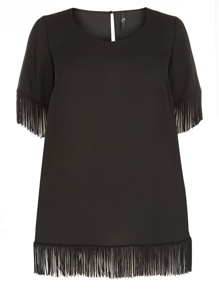 Evans Black Fringed Short Sleeve Top