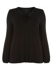 Evans Black Lace Up Top