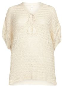 Evans Oatmeal Tie Neck Jumper