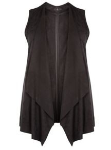 Evans Black Suedette Sleeveless Jacket