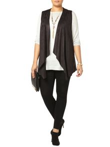 Black Suedette Sleeveless Jacket