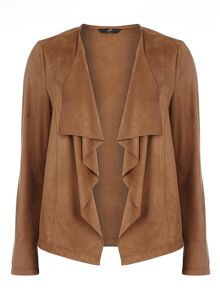 Evans Tan Suedette Waterfall Jacket