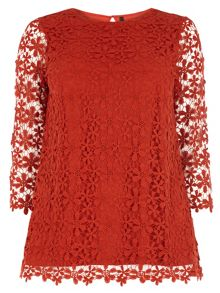 Evans Orange Daisy Lace Top