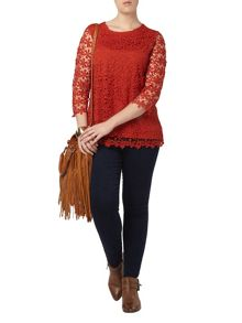 Orange Daisy Lace Top