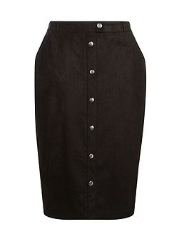 Black Suedette Button Mini Skirt