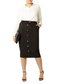 Evans Black Suedette Button Mini Skirt