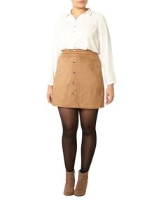 Evans Tan Suedette Button Mini Skirt