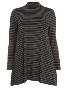 Black stripe roll neck top