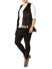 Evans Black Suedette Fringed Jacket