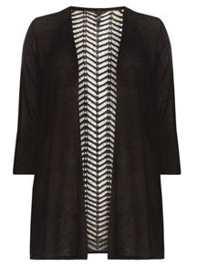 Evans Black Pattern Back Cardigan