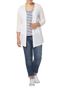 Evans White pattern back cardigan