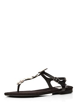 Extra Wide Fit Black Toe Post Sandal
