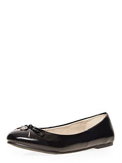 Extra wide fit black patent charm balerina
