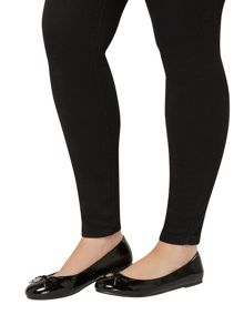 Evans Extra wide fit black patent charm balerina