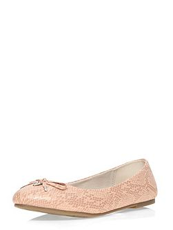 Extra wide fit pink patent charm balerina