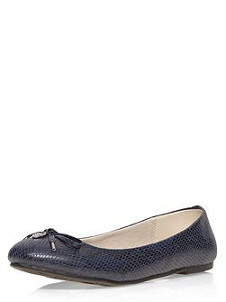 Extra wide fit navy patent charm balerina