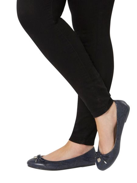 Evans Extra wide fit navy patent charm balerina