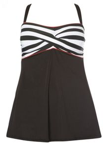Evans Black Stripe Print Swimdress